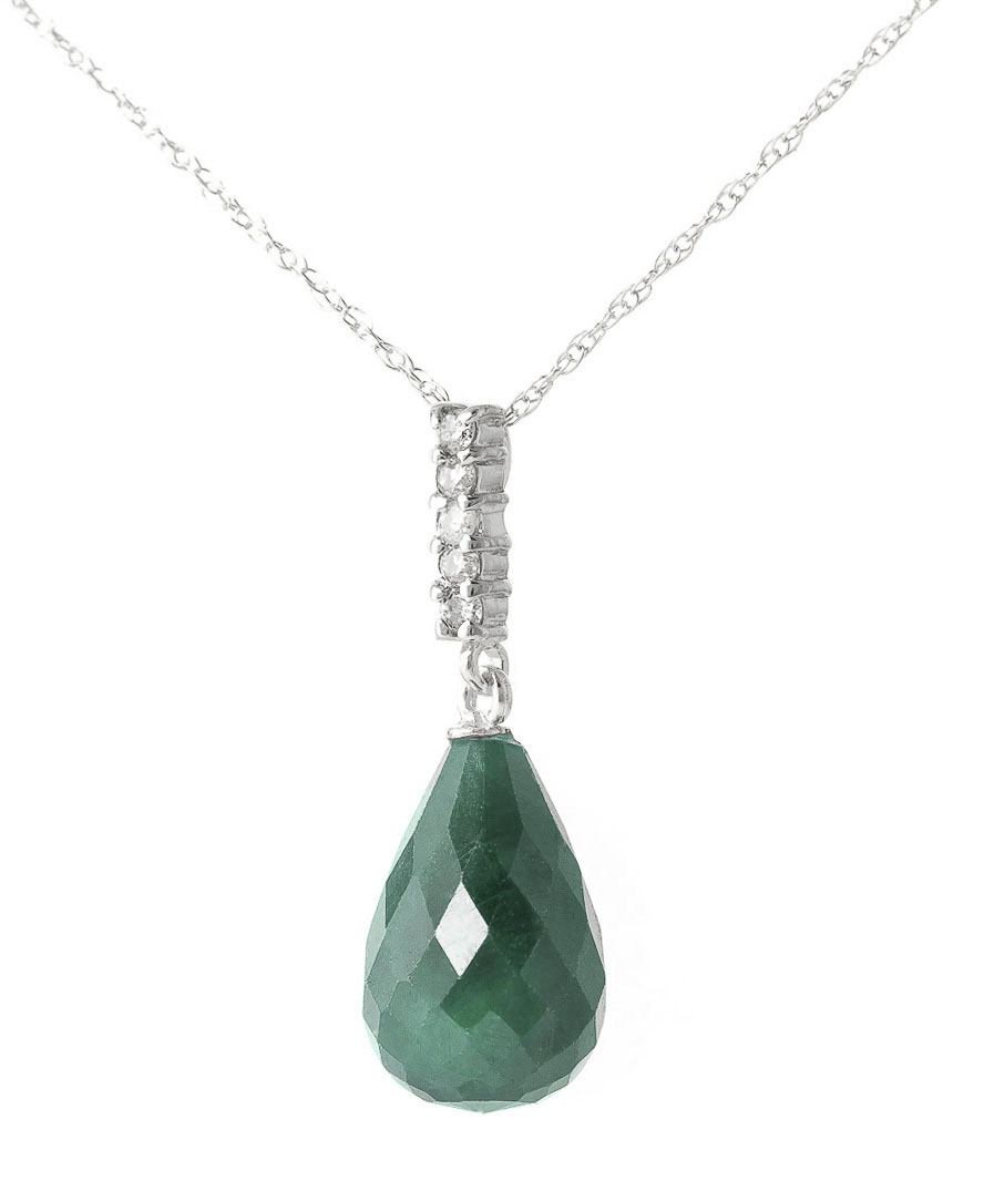 Emerald and Diamond Pendant Necklace 8.8ct in 14K White Gold