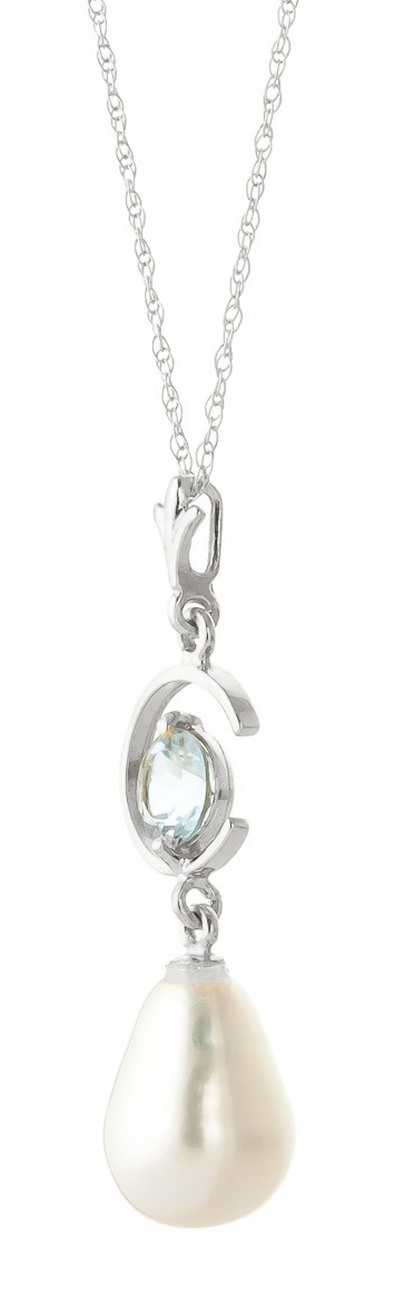 Pearl and Aquamarine Pendant Necklace 4.5ctw in 14K White Gold