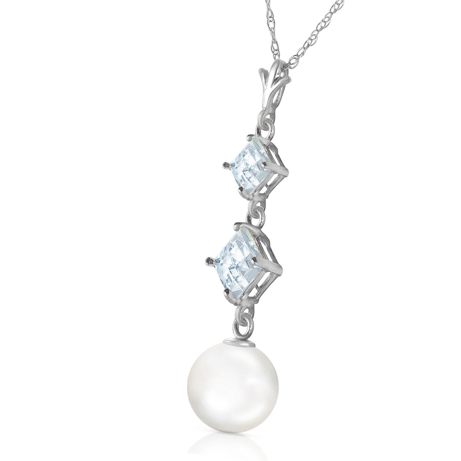 Pearl and Aquamarine Pendant Necklace 3.25ctw in 14K White Gold