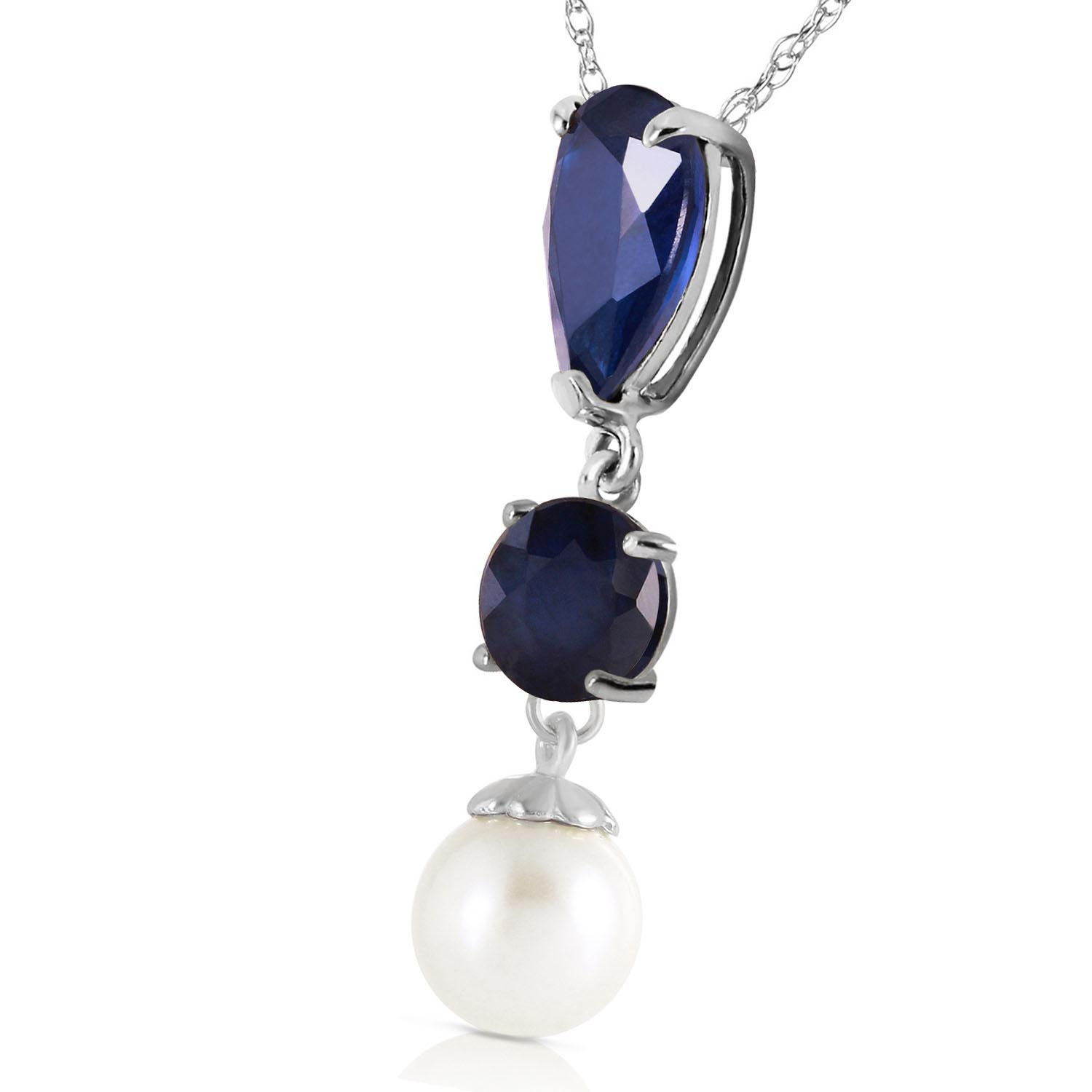 Sapphire and Pearl Pendant Necklace 5.05ctw in 9ct White Gold