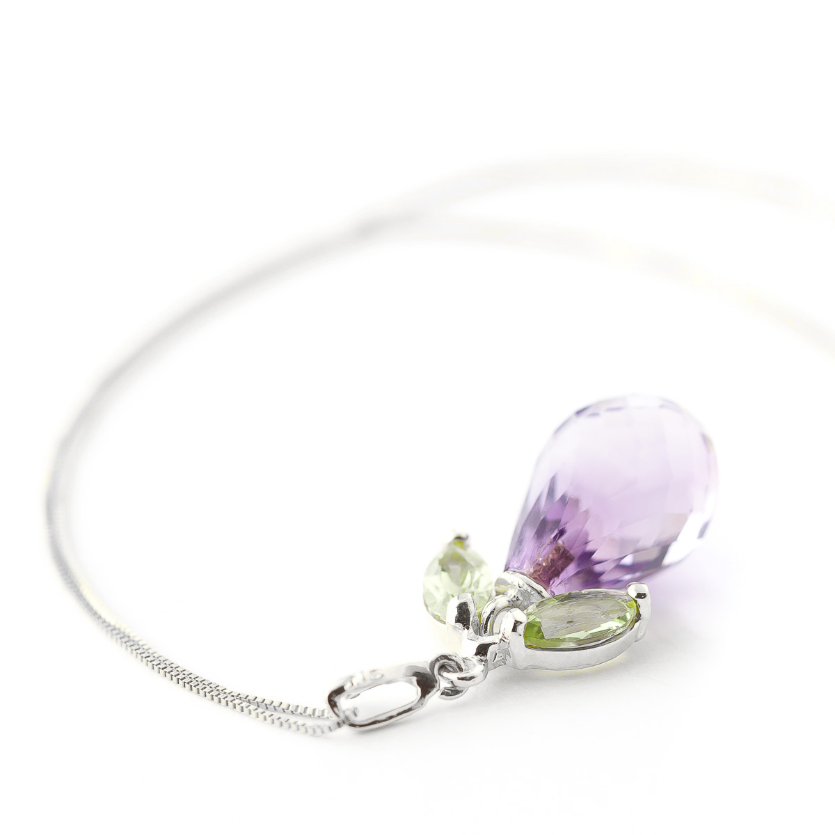 Amethyst and Peridot Pendant Necklace 7.2ctw in 9ct White Gold