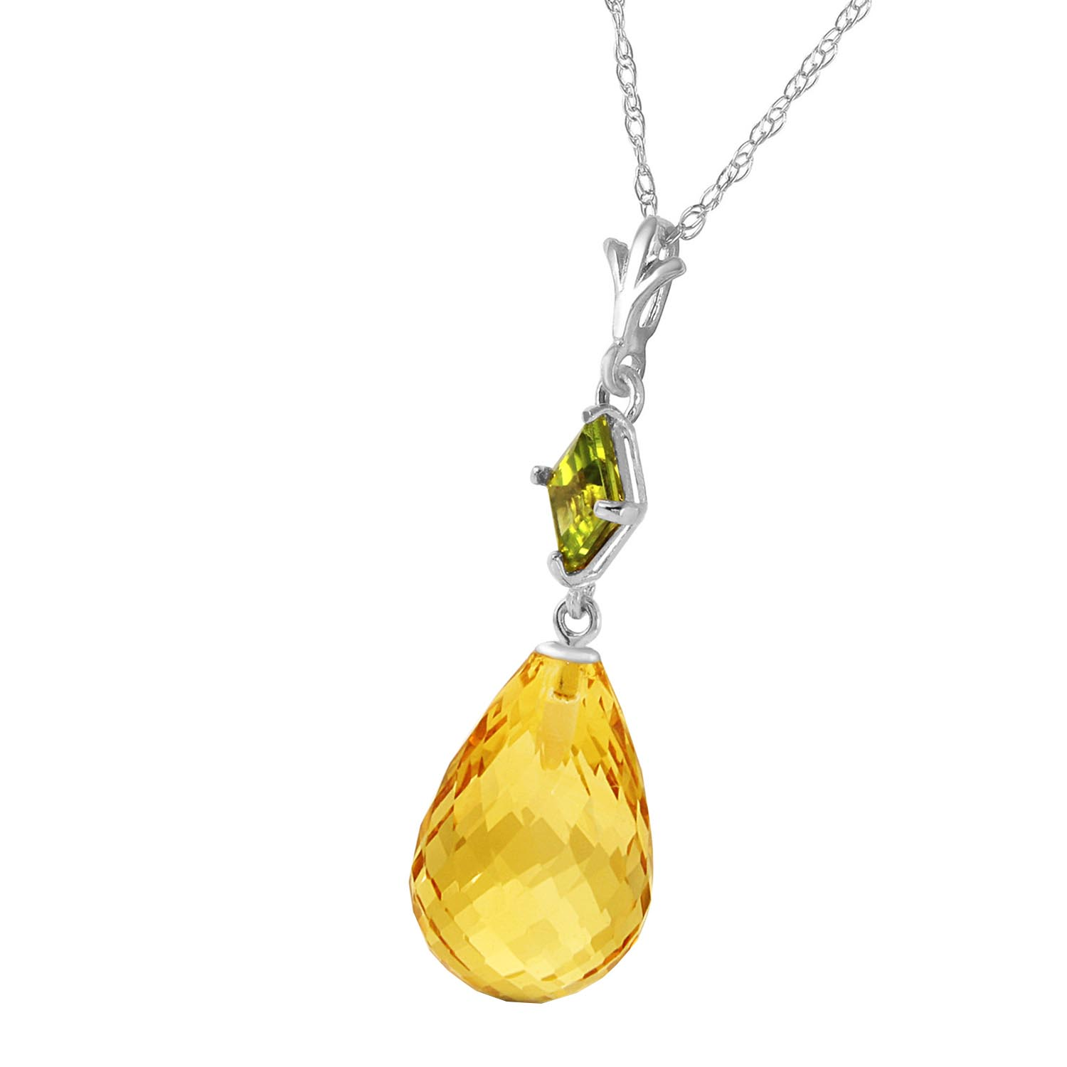 Citrine and Peridot Pendant Necklace 5.5ctw in 14K White Gold