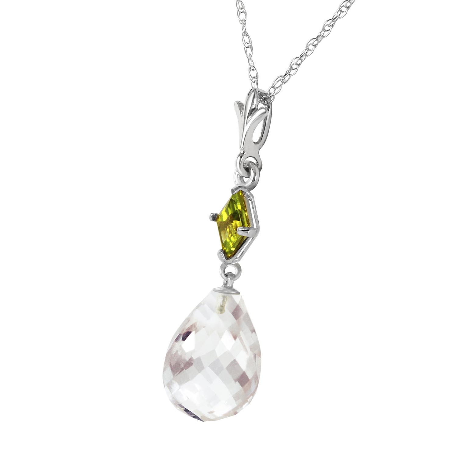 White Topaz and Peridot Pendant Necklace 5.5ctw in 14K White Gold