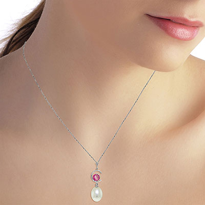 Pearl and Pink Topaz Pendant Necklace 4.5ctw in 14K White Gold