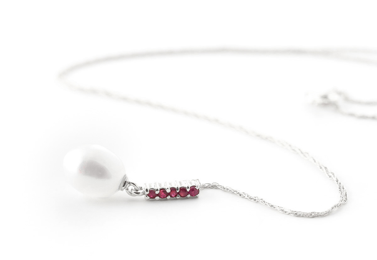 Pearl and Ruby Pendant Necklace 4.2ctw in 14K White Gold