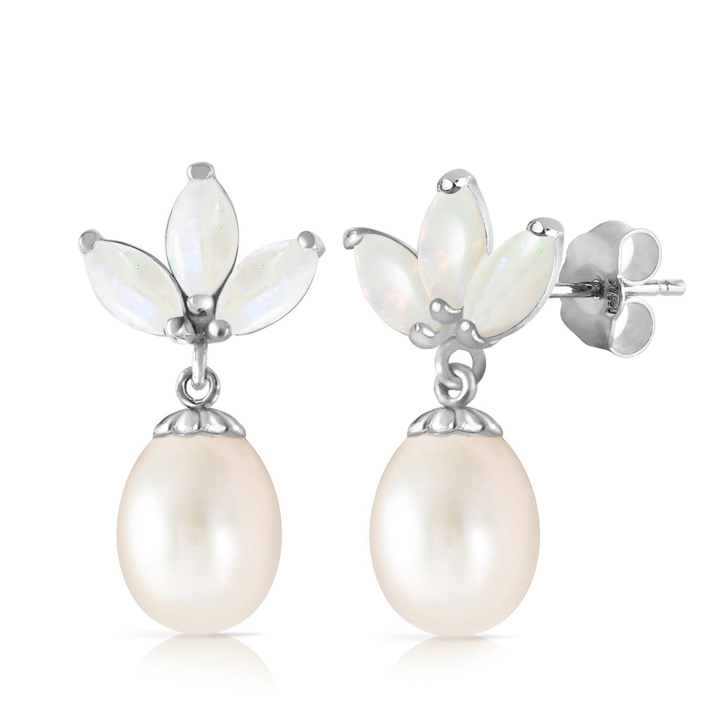 Pearl and Opal Petal Drop Earrings 9.5ctw in 9ct White Gold