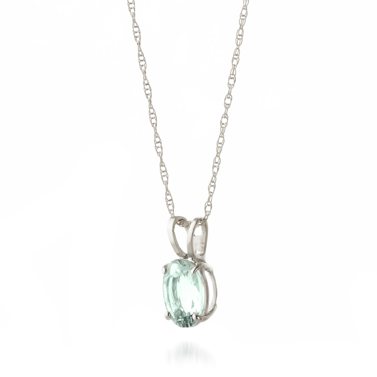 Oval Cut Aquamarine Pendant Necklace 0.75ct in 9ct White Gold