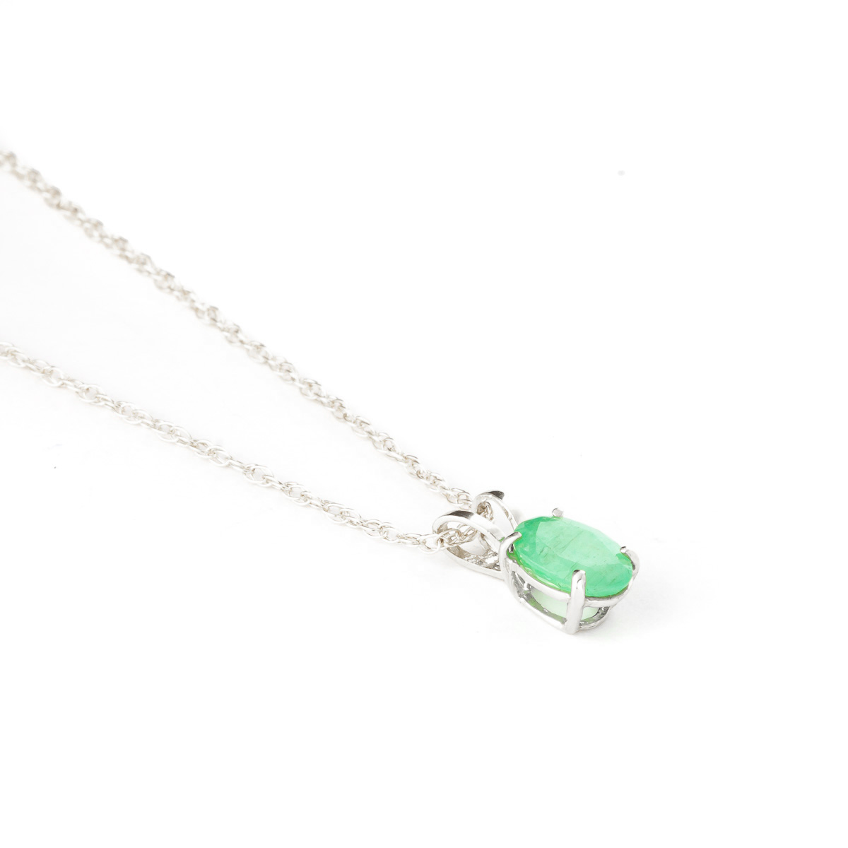 Oval Cut Emerald Pendant Necklace 0.75ct in 14K White Gold