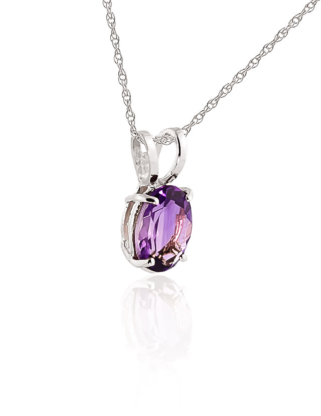 Oval Cut Amethyst Pendant Necklace 0.85ct in 9ct White Gold
