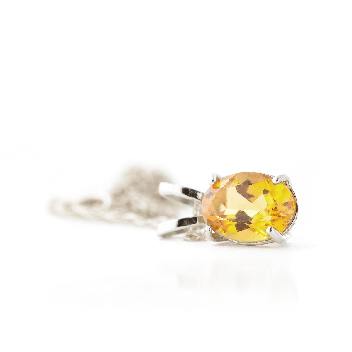 Oval Cut Citrine Pendant Necklace 0.85ct in 14K White Gold