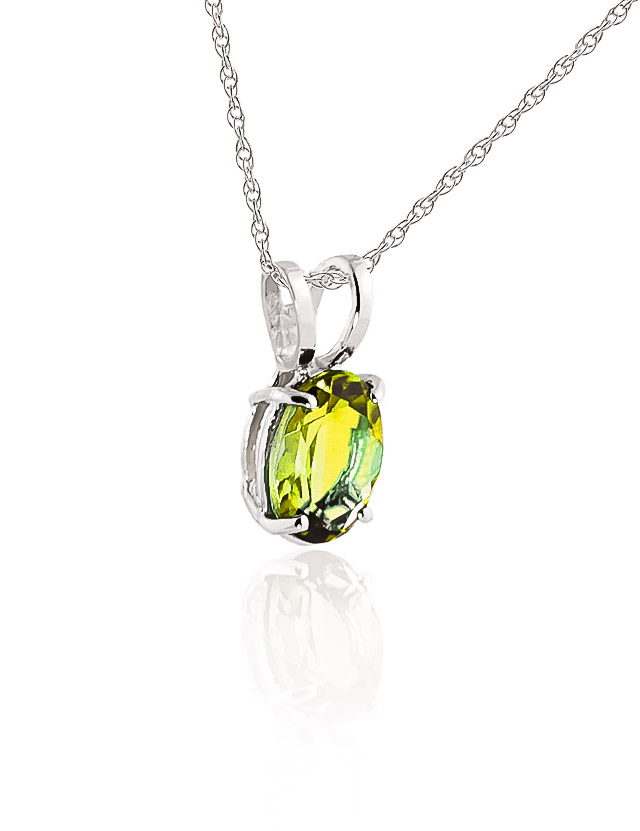 Oval Cut Peridot Pendant Necklace 0.85ct in 14K White Gold