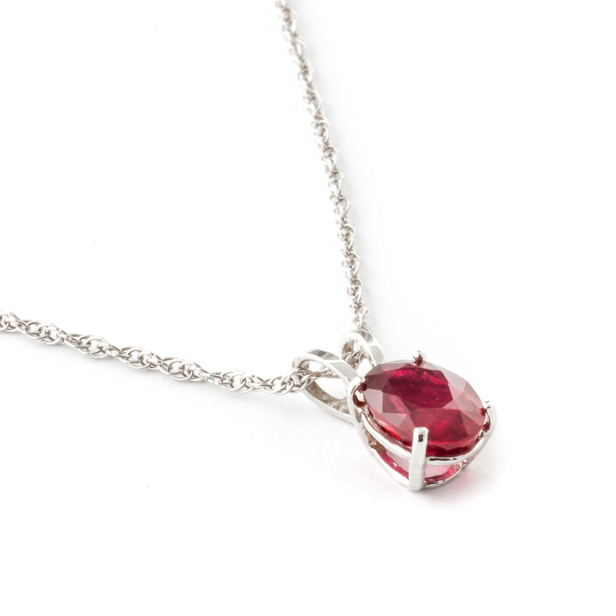 Oval Cut Ruby Pendant Necklace 1.0ct in 14K White Gold