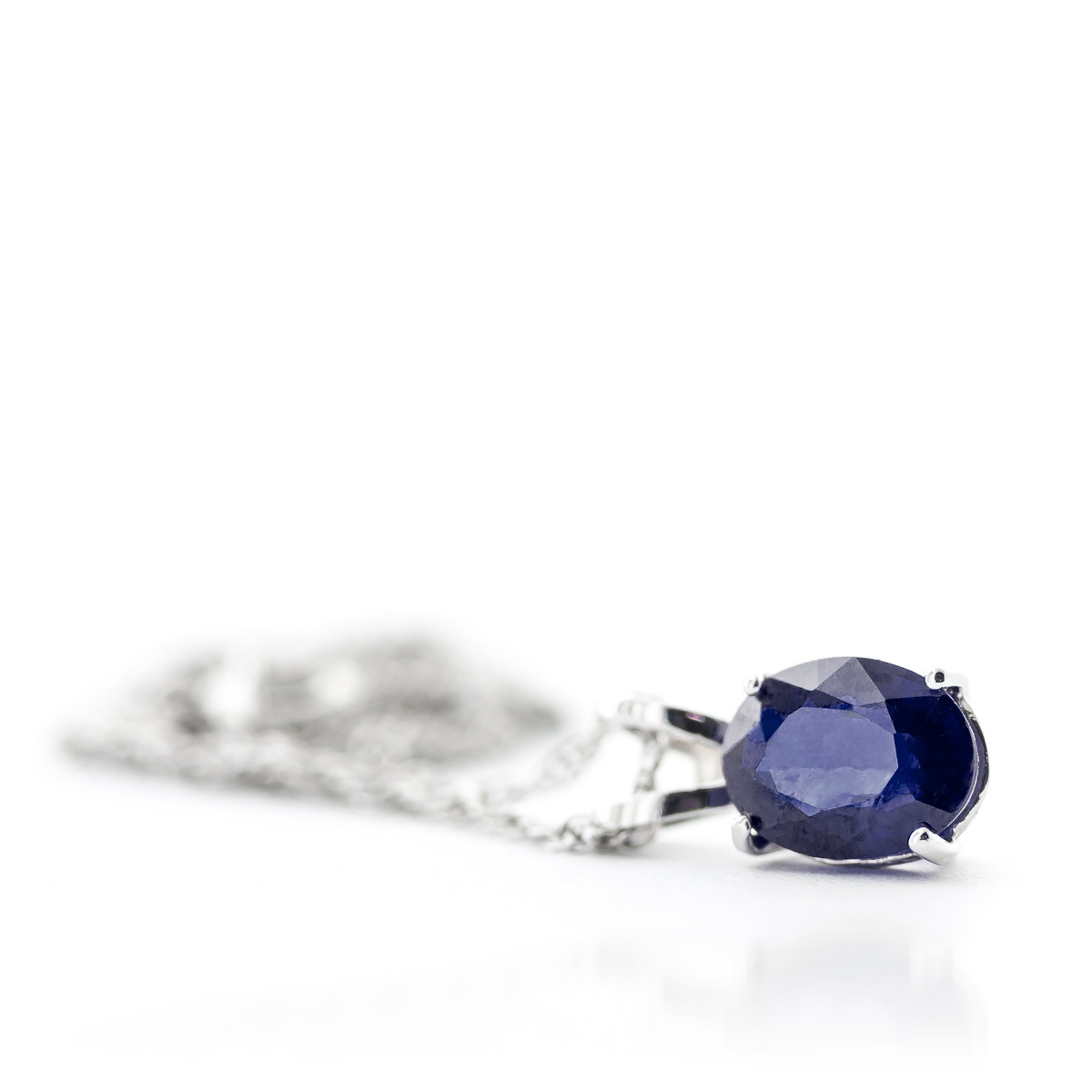 Oval Cut Sapphire Pendant Necklace 1.0ct in 9ct White Gold