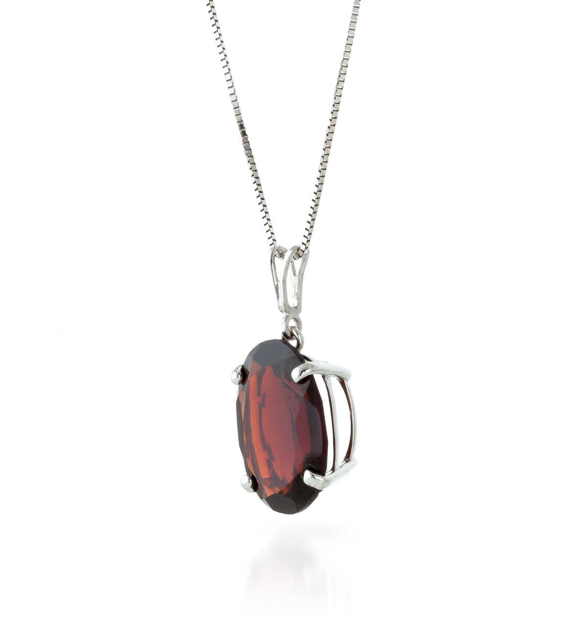 Oval Cut Garnet Pendant Necklace 6.0ct in 14K White Gold