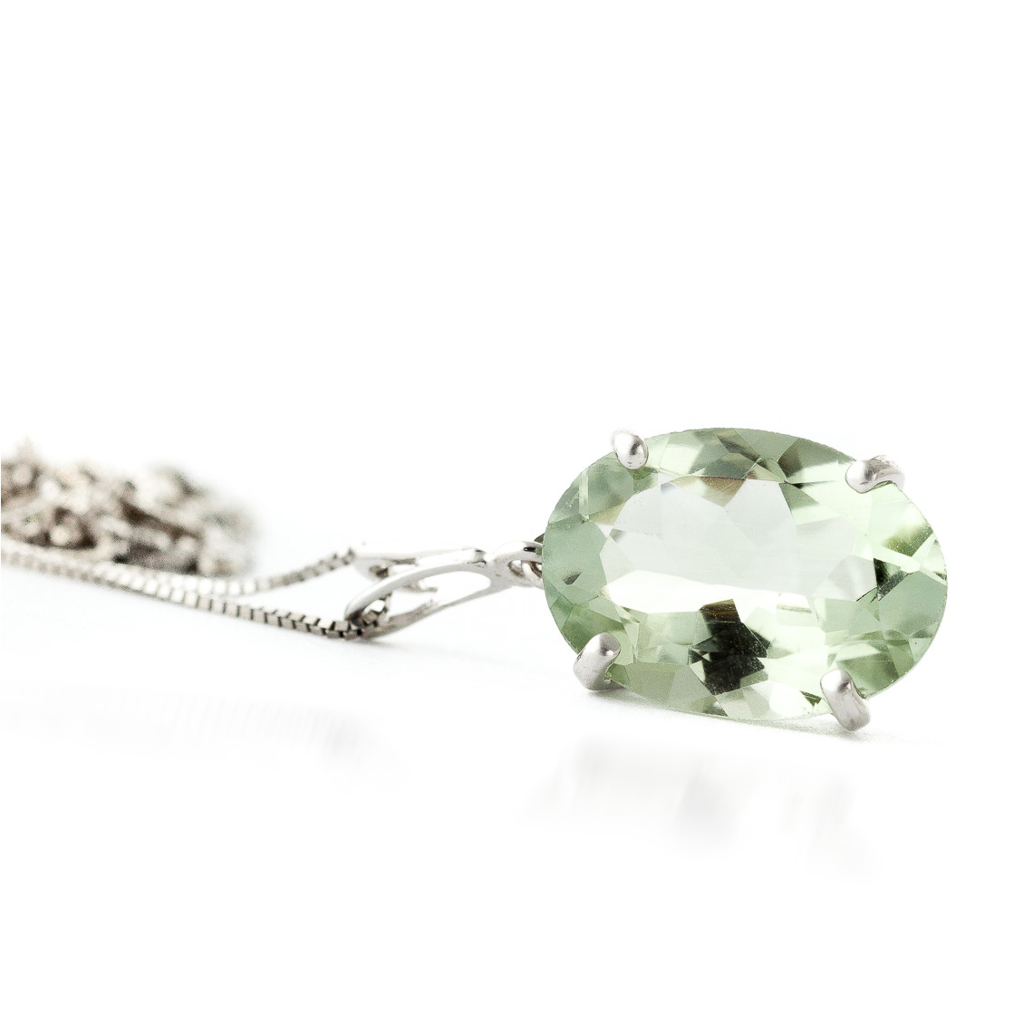 Oval Cut Green Amethyst Pendant Necklace 7.55ct in 9ct White Gold