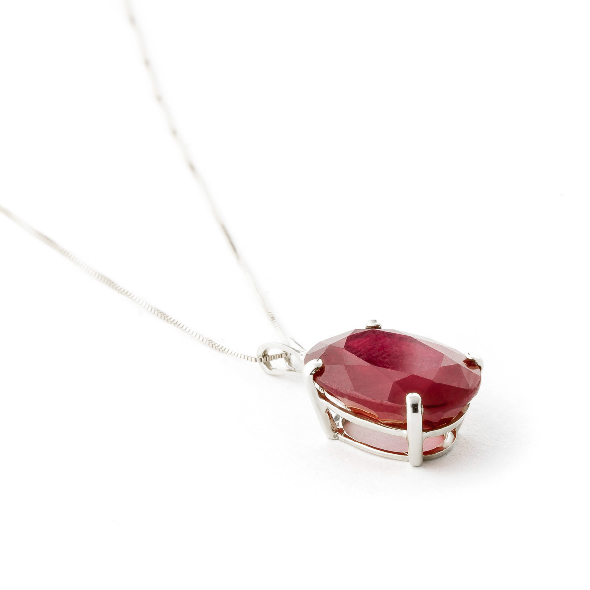 Oval Cut Ruby Pendant Necklace 7.7ct in 9ct White Gold