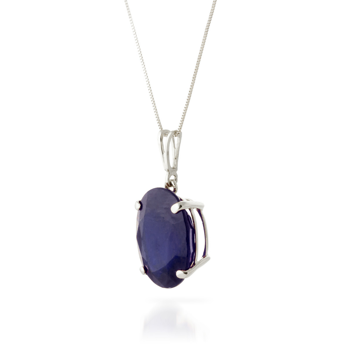 Oval Cut Sapphire Pendant Necklace 8.5ct in 9ct White Gold