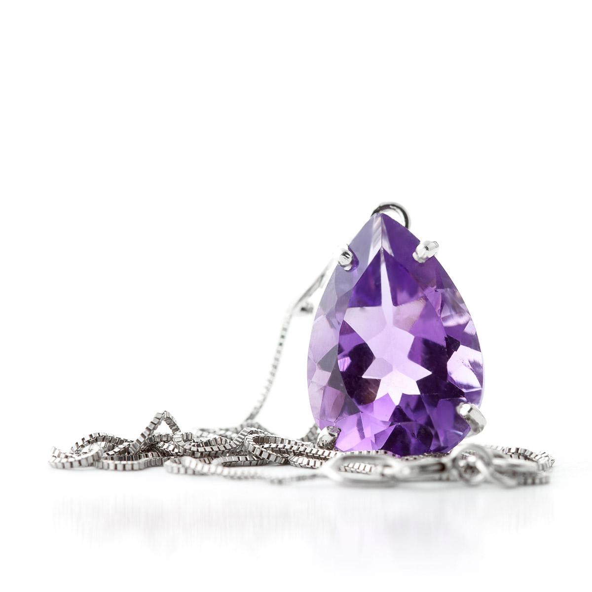 Pear Cut Amethyst Pendant Necklace 5.0ct in 9ct White Gold