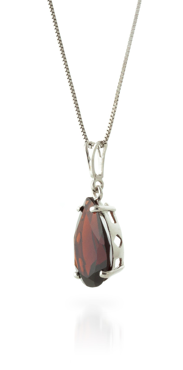 Pear Cut Garnet Pendant Necklace 5.0ct in 14K White Gold