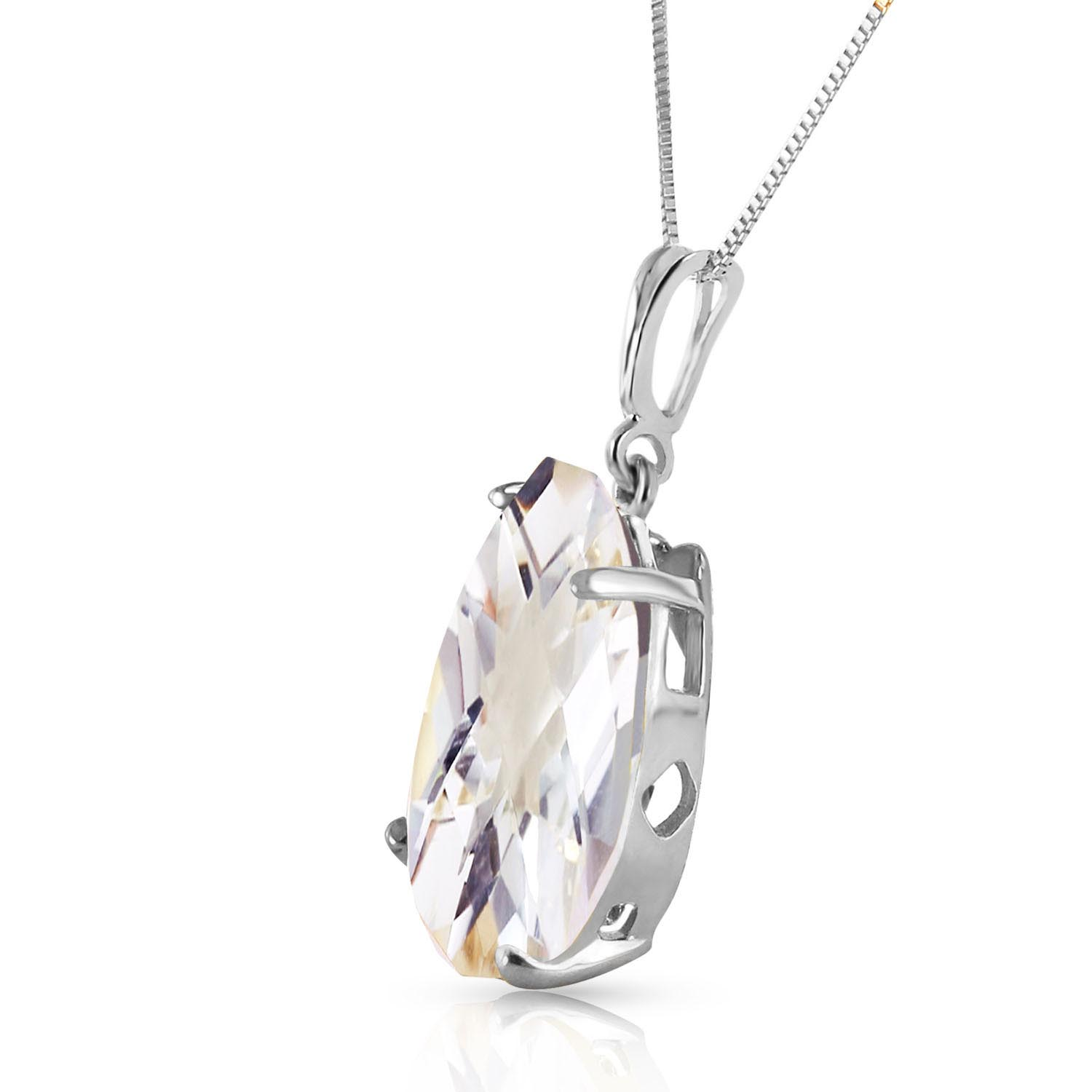 Pear Cut White Topaz Pendant Necklace 5.0ct in 14K White Gold