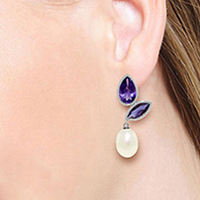 Amethyst and Pearl Petal Drop Earrings 16.0ctw in 9ct White Gold