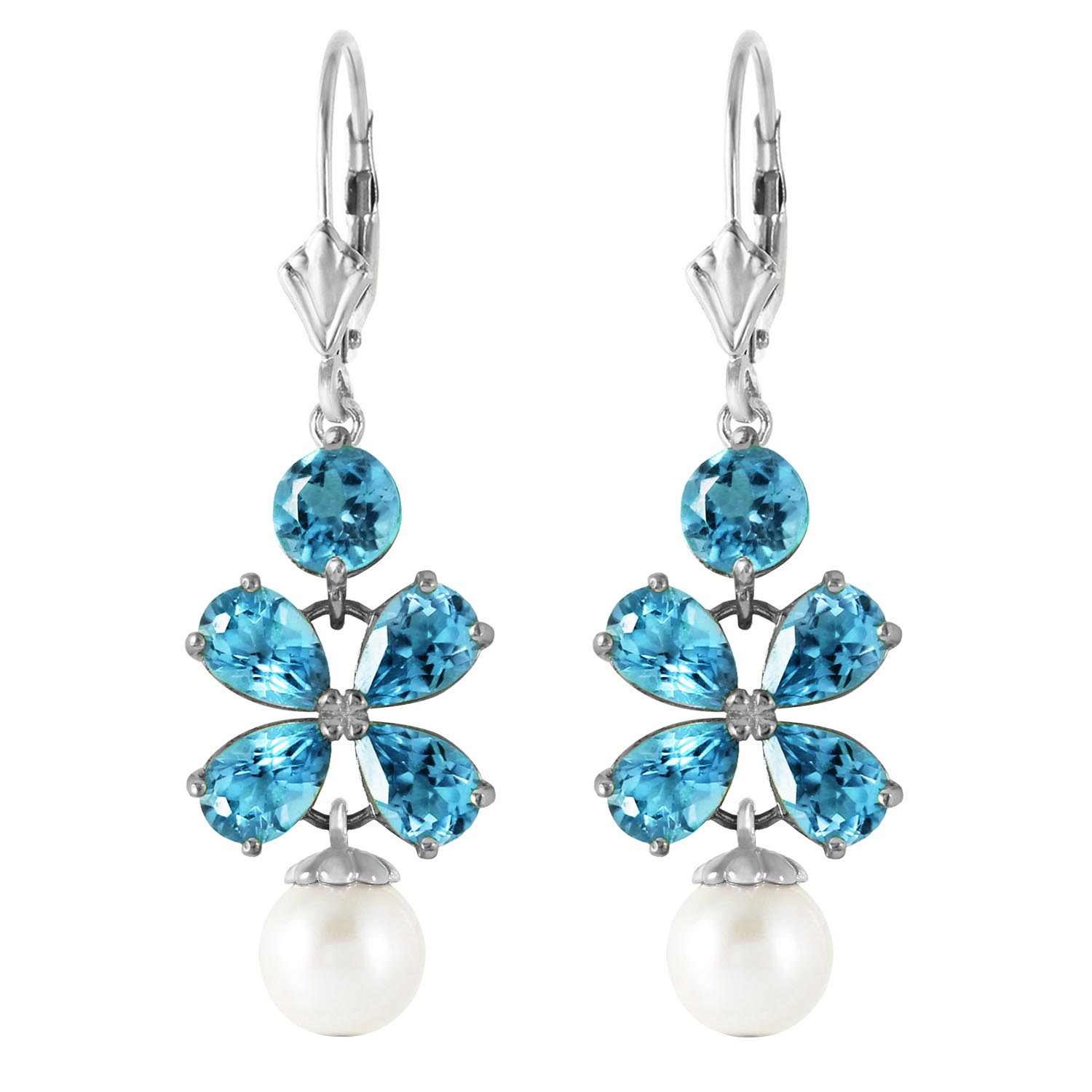 Blue Topaz and Pearl Blossom Drop Earrings 6.28ctw in 9ct White Gold