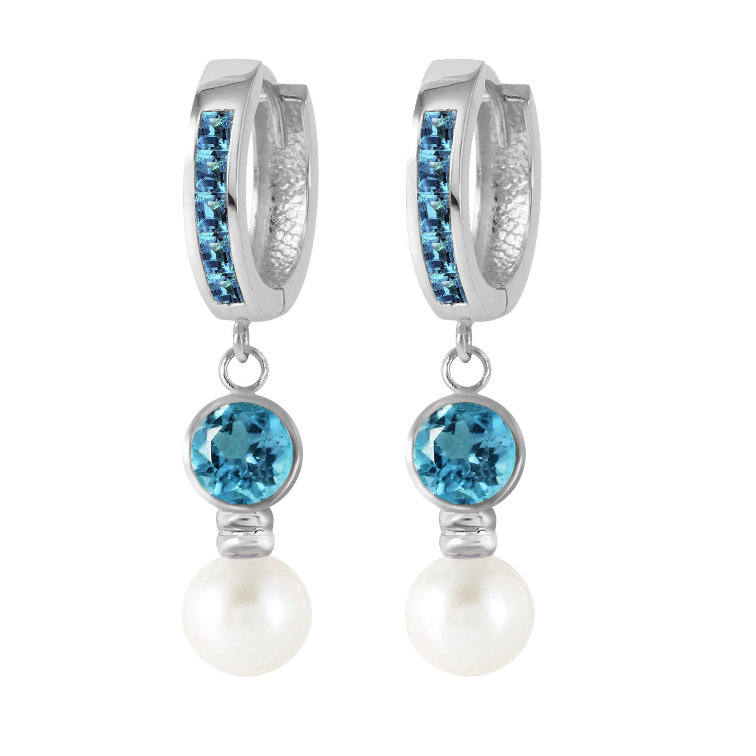 Blue Topaz and Pearl Huggie Earrings 4.3ctw in 9ct White Gold