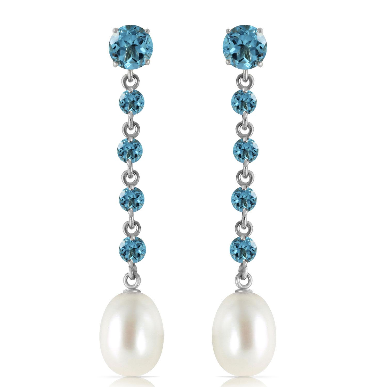 Blue Topaz and Pearl by the Yard Drop Earrings 10.0ctw in 14K White Gold