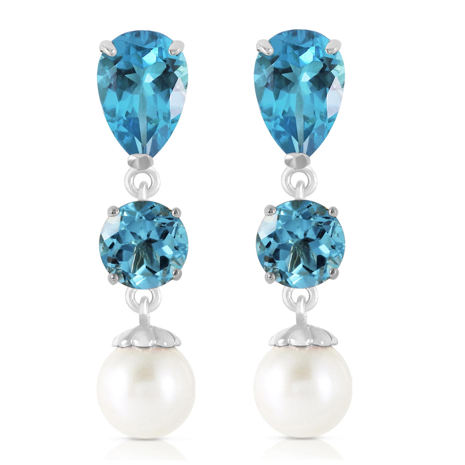 Blue Topaz and Pearl Droplet Earrings 10.5ctw in 9ct White Gold