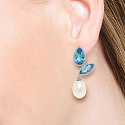 Blue Topaz and Pearl Petal Drop Earrings 16.0ctw in 9ct White Gold