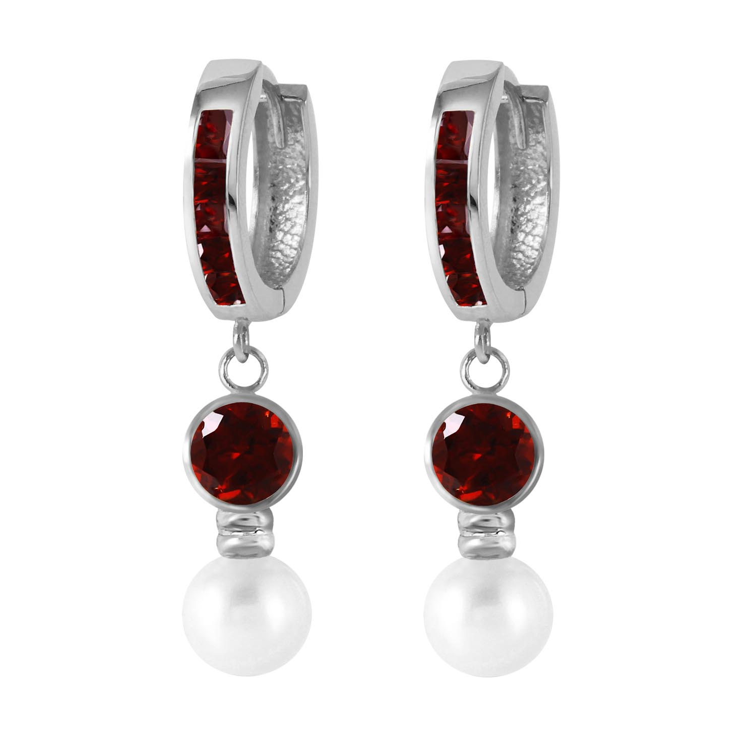 Garnet and Pearl Huggie Earrings 4.3ctw in 9ct White Gold