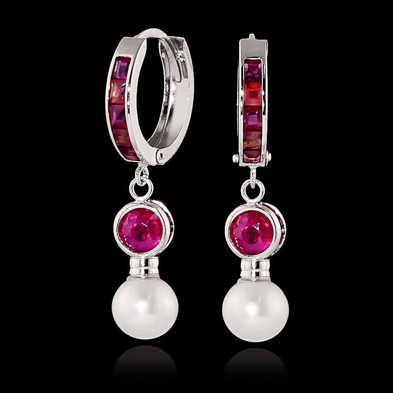 Ruby and Pearl Huggie Earrings 4.65ctw in 9ct White Gold