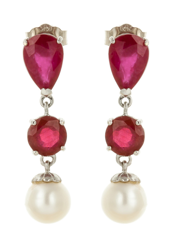 Ruby and Pearl Droplet Earrings 3.0ctw in 9ct White Gold