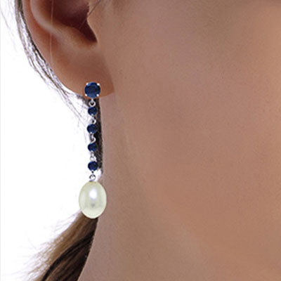 Sapphire and Pearl by the Yard Drop Earrings 10.0ctw in 14K White Gold