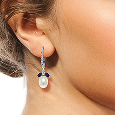 Sapphire and Pearl Drop Earrings 9.0ctw in 14K White Gold