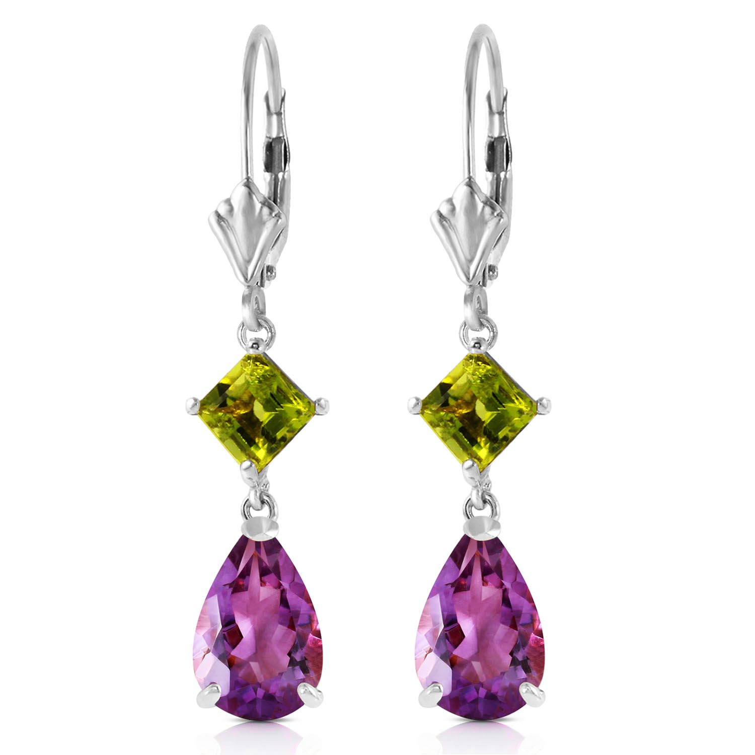 Amethyst and Peridot Droplet Earrings 4.5ctw in 9ct White Gold