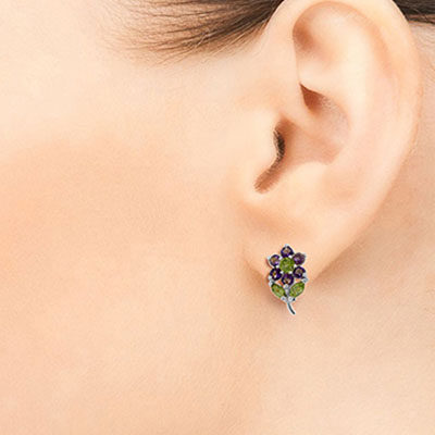 Amethyst and Peridot Flower Petal Stud Earrings 2.12ctw in 9ct White Gold