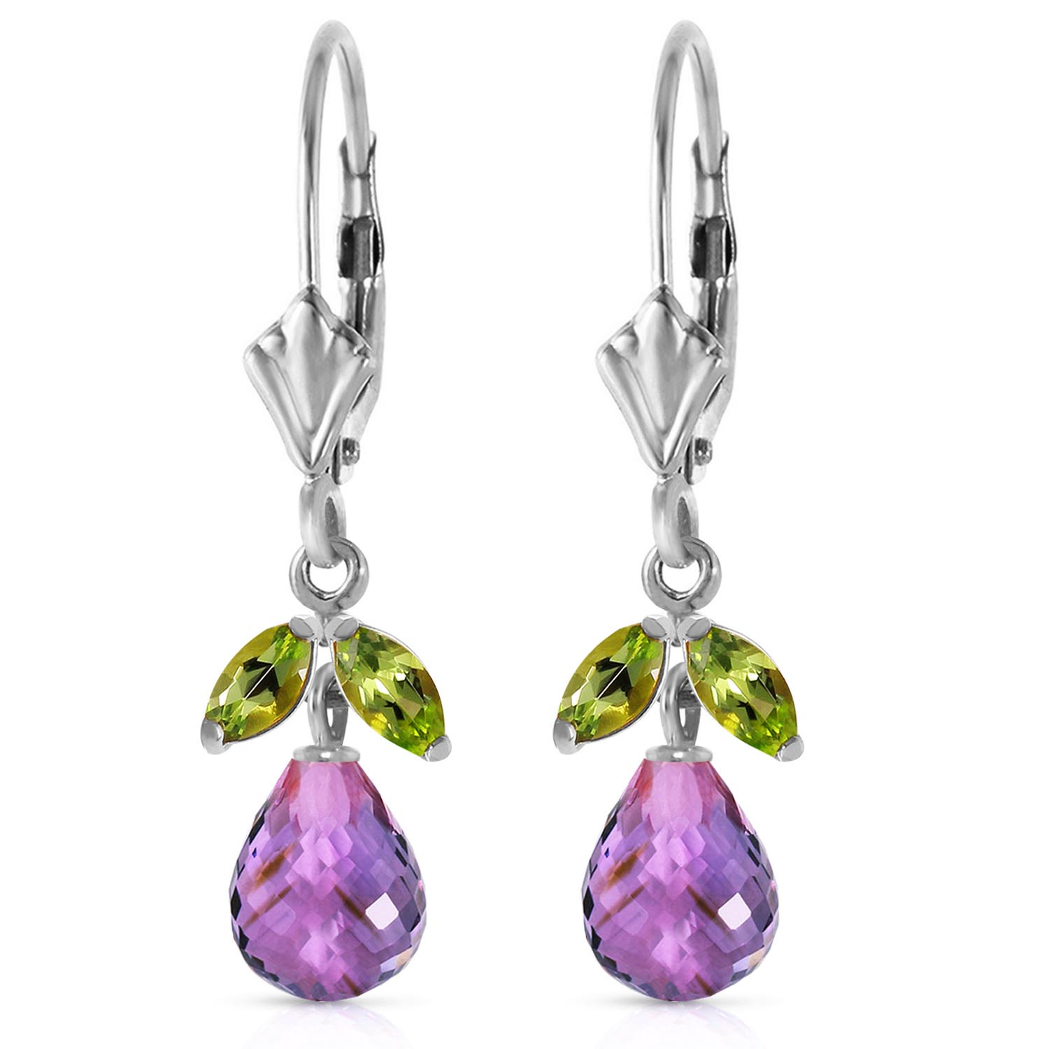 Amethyst and Peridot Snowdrop Earrings 3.4ctw in 9ct White Gold