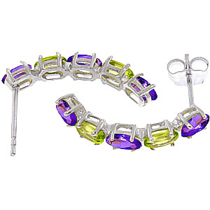 Amethyst and Peridot Linear Stud Earrings 2.5ctw in 14K White Gold