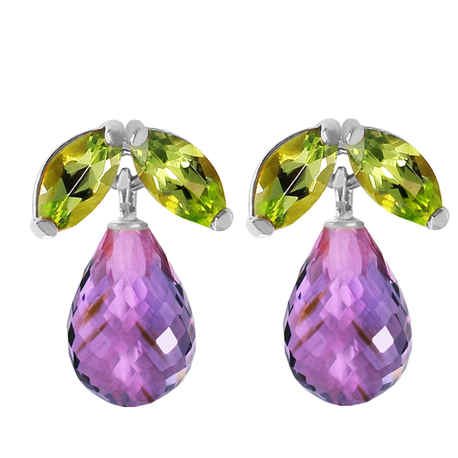 Amethyst and Peridot Snowdrop Stud Earrings 3.4ctw in 14K White Gold