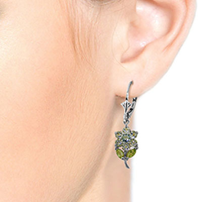 Aquamarine and Peridot Flower Petal Drop Earrings 2.12ctw in 9ct White Gold