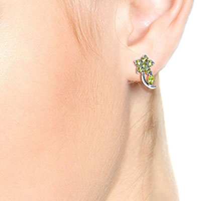 Aquamarine and Peridot Flower Stud Earrings 1.72ctw in 14K White Gold