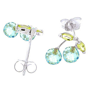 Blue Topaz and Peridot Cherry Drop Stud Earrings 2.14Kw in 14K White Gold