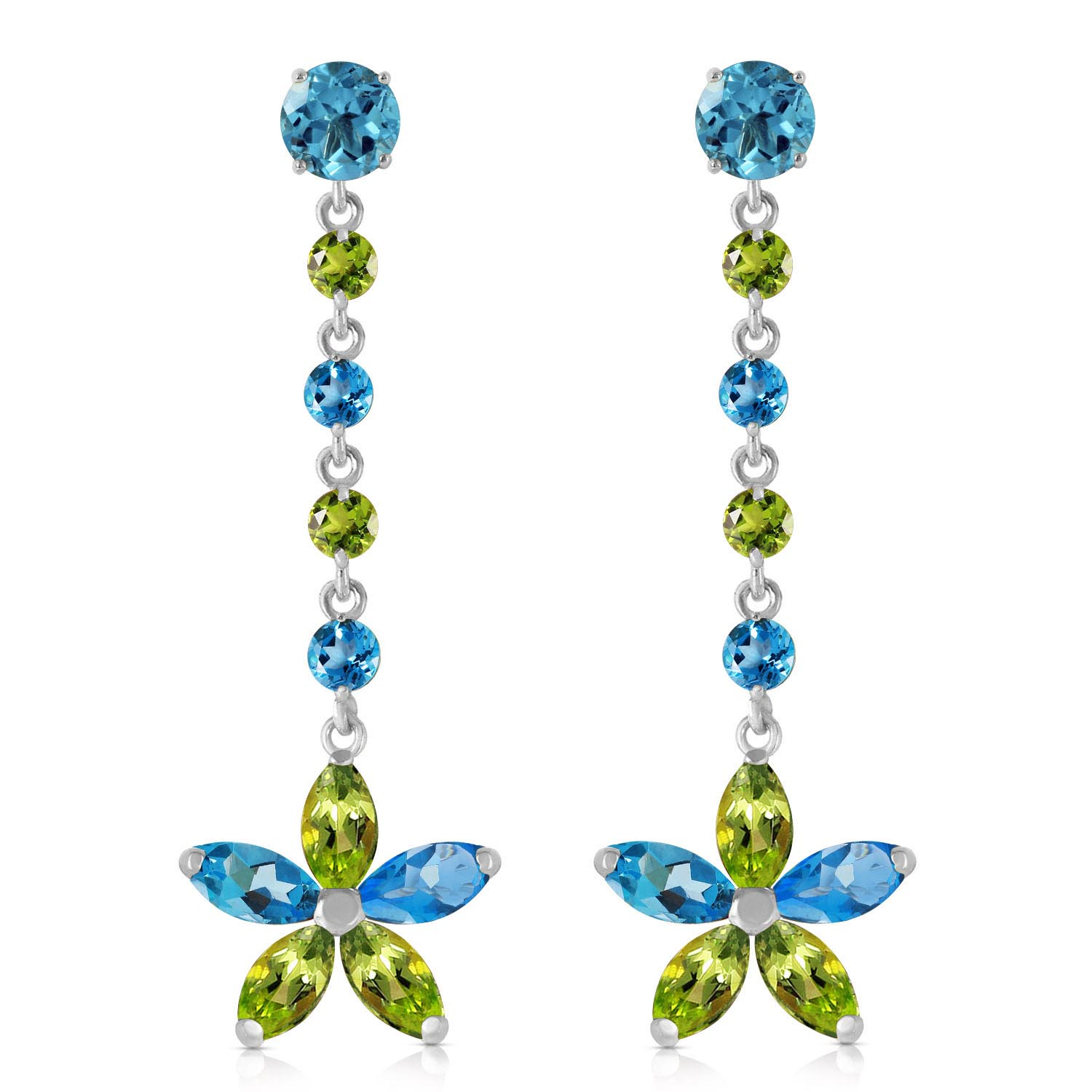 Blue Topaz and Peridot Daisy Chain Drop Earrings 4.8ctw in 9ct White Gold