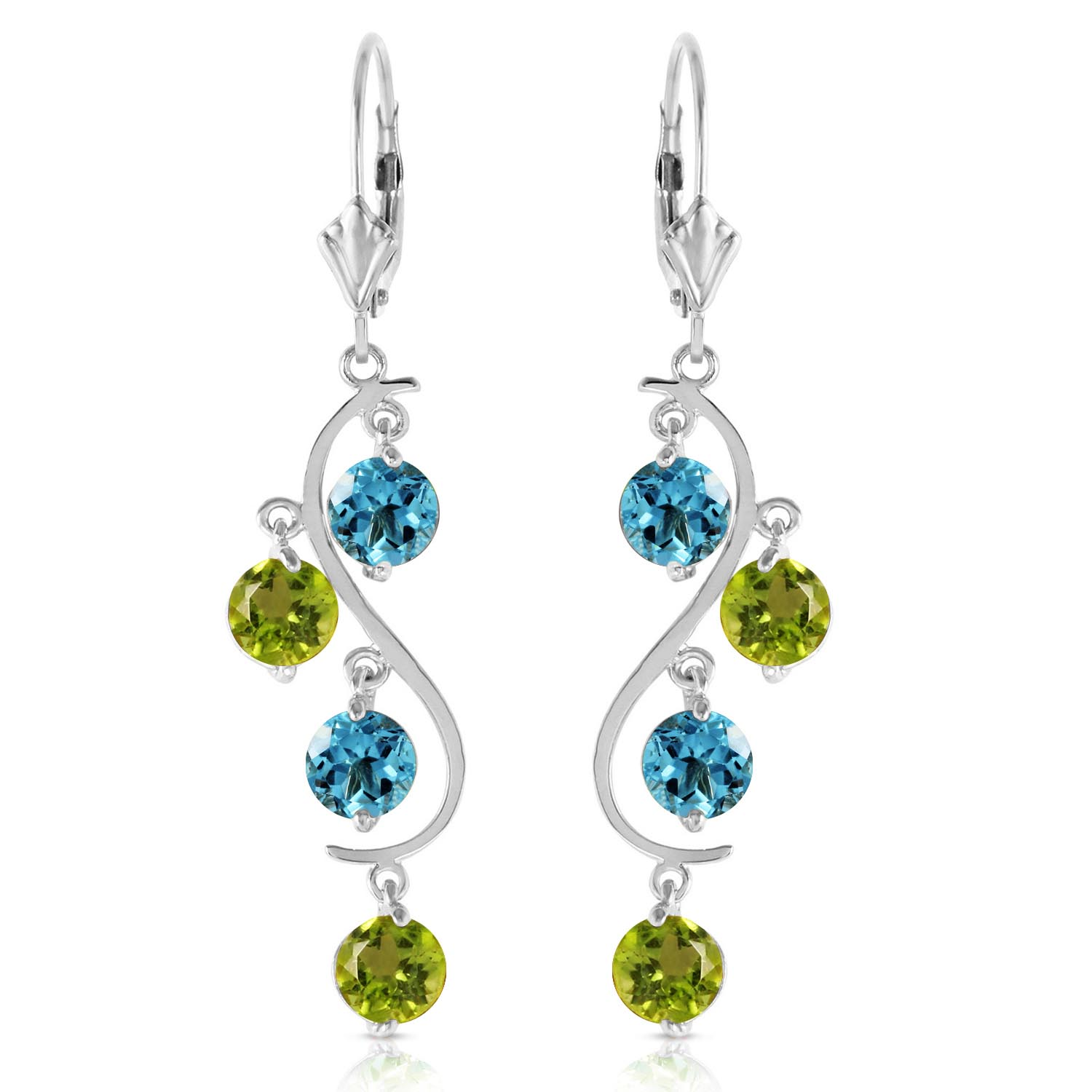 Blue Topaz and Peridot Dream Catcher Drop Earrings 4.94ctw in 9ct White Gold