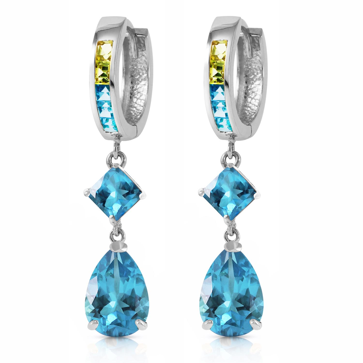 Blue Topaz and Peridot Huggie Earrings 5.37ctw in 9ct White Gold