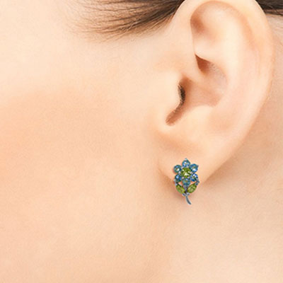 Blue Topaz and Peridot Flower Petal Stud Earrings 2.12ctw in 9ct White Gold