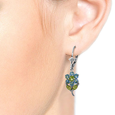Blue Topaz and Peridot Flower Petal Drop Earrings 2.12ctw in 9ct White Gold