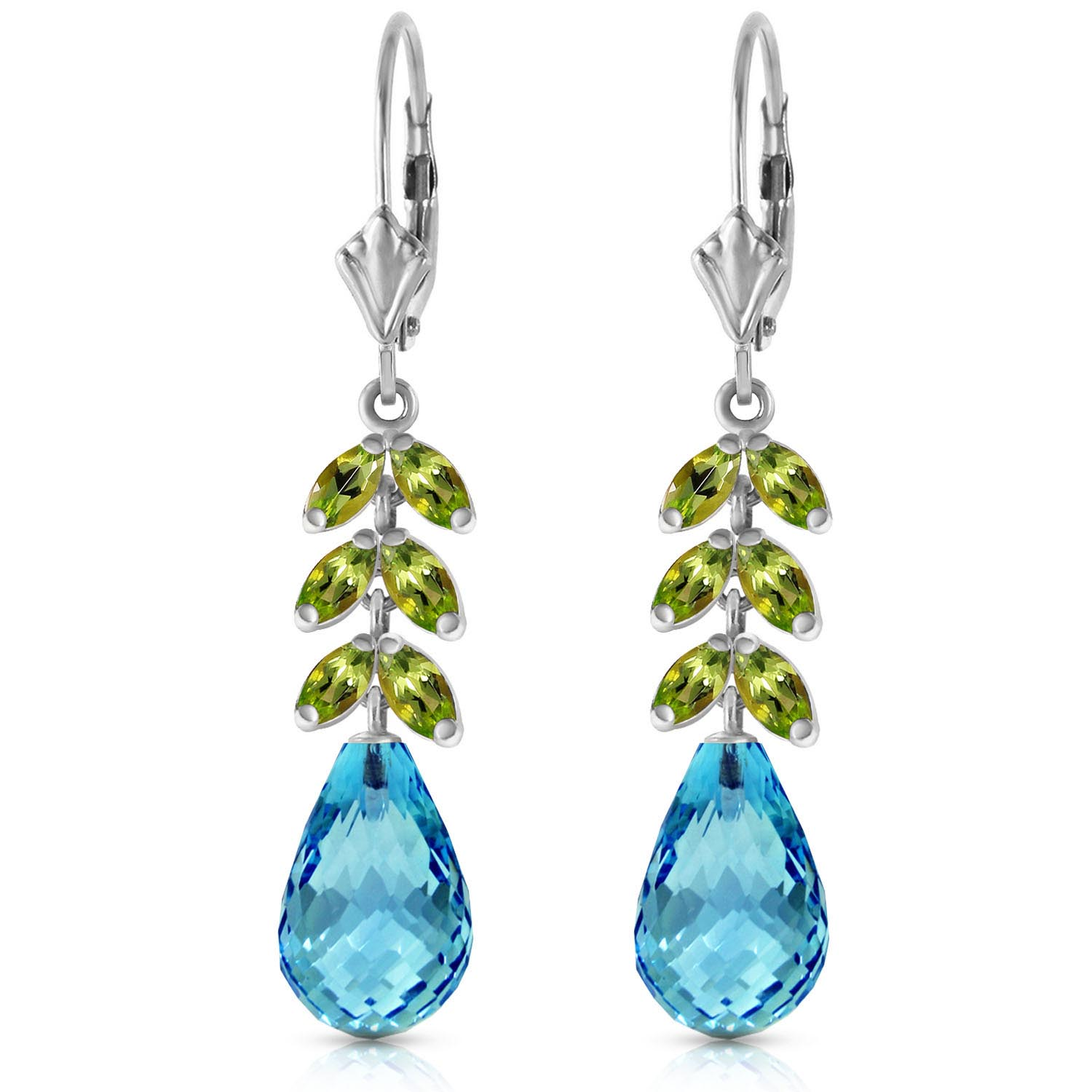 Blue Topaz and Peridot Drop Earrings 11.2ctw in 9ct White Gold