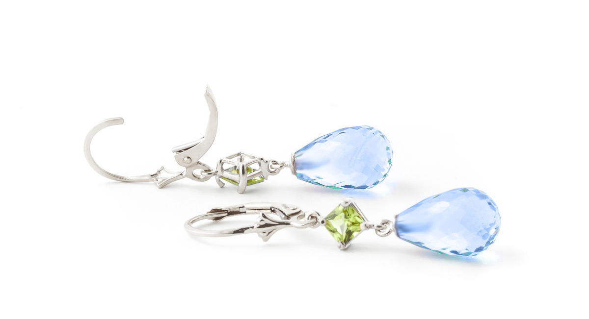 Blue Topaz and Peridot Drop Earrings 11.0ctw in 9ct White Gold